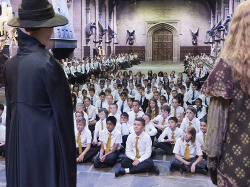 Children assemble in the Great Hall.