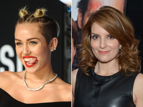 Image: Miley Cyrus and Tina Fey.