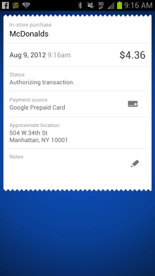 This undated screenshot shows the Google Wallet application on a mobile device in New York. Plastic has replaced cash for everyday shopping for many c...