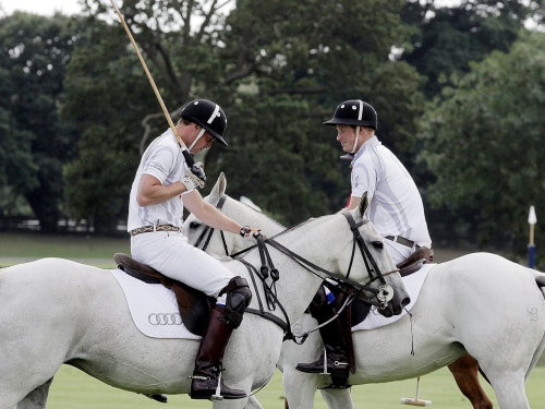 The sport of kings: Prince Harry chats with Prince William at a charity polo match at Coworth Park, England August 3.