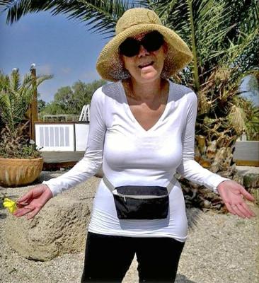 Kathie Lee in Israel wearing a fanny pack.