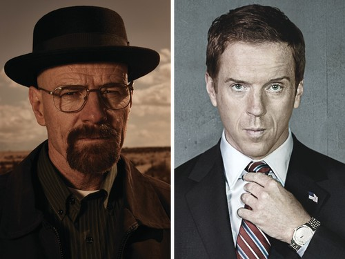 """Image: Bryan Cranston as """"Breaking Bad's"""" Walter White, and Damian Lewis as """"Homeland's"""" Nick Brody."""