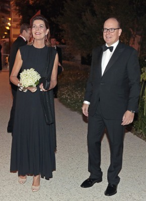 Image: Prince Albert II of Monaco (R) and his sister Princess Caroline of Hanover arrive at the fundraising dinner for the new national museum, in Monaco Sep...