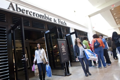 Customers leave an Abercrombie & Fitch store at South Park mall in Charlotte, North Carolina in this file photo.