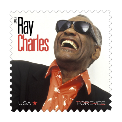 The stamp honoring the late Ray Charles is being issued on what would have been his 83rd birthday.