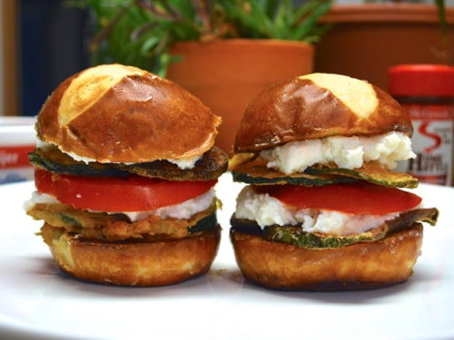 Forbidden Sandwich #3–Fried Zucchini and Sliced Tomato on Pretzel Roll