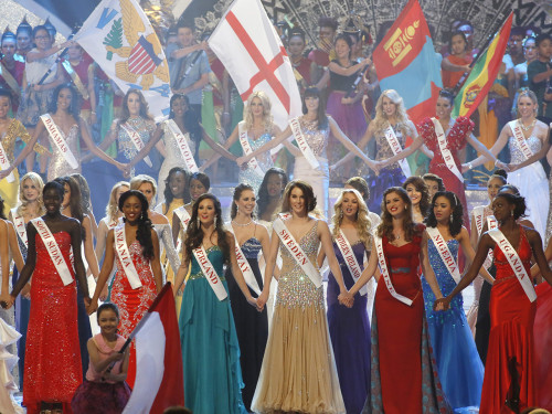 Contestants gather on stage Saturday during the grand finale of the Miss World 2013 beauty pageant in Bali.