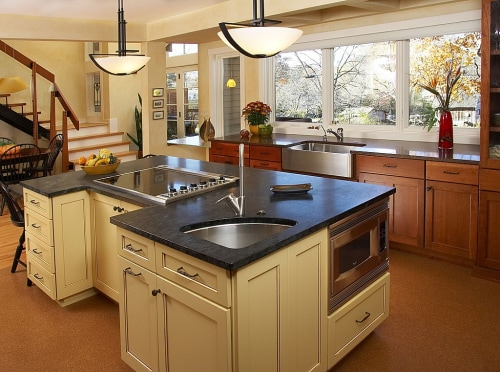 Soapstone is a natural material that isn't affected by acids, so it won't stain from a coffee or orange juice spill.