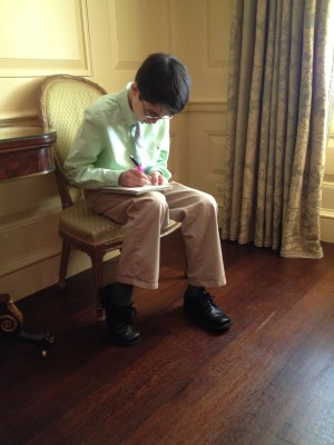 The writer takes notes before meeting Mrs. Obama.