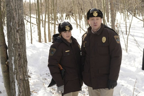 """Fargo"" echoes the 1996 film that inspired it, but is a unique creation of its own. Pictured: Allison Tolman as Molly and Shawn Doyle as Vern."