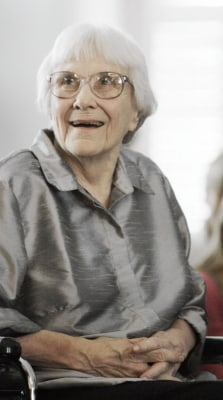 "Author Harper Lee said in a rare public statement Monday, April 28, 2014, issued through HarperCollins Publishers, that while she still favored ""dusty"" books she had signed on for making ""Mockingbird"" available to a ""new generation."""