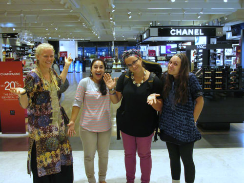 Guinea Volunteers Michelle Pitcher, Maren Lujan, Sara Laskowski and Amanda Newlove experienced culture shock upon stepping into the Charles de Guelle airport in Paris, France.