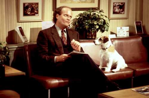Image: Frasier (Kelsey Grammer) and his nemesis, Eddie (Moose the Dog).