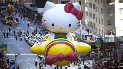 Hello Kitty floats down 6th Avenue in New York City's annual Macy's Thanksgiving Day Parade in 2013.