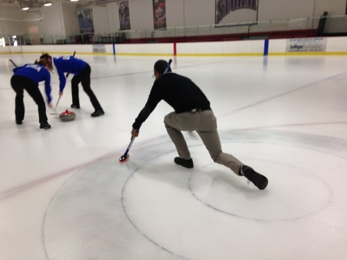 Anchor in the House: Lester tries his hand at curling.