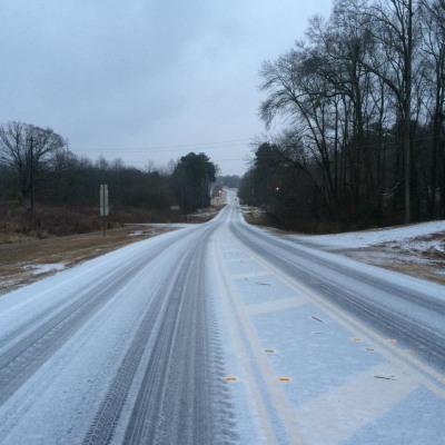 Snowy roads in Georgia