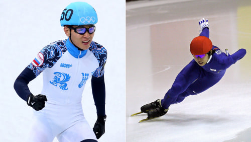 Speedskater Viktor An of Russia (competing Thursday) is also known as Korea's Hyun-Soo Ahn (right), in Milan in 2007.