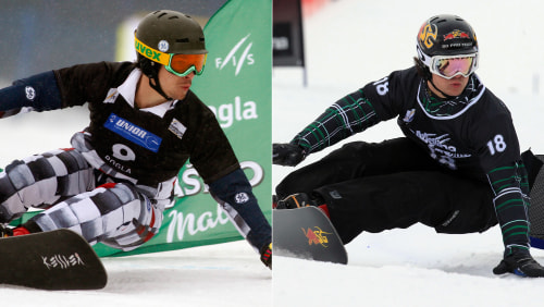 Vic Wild, left, competing for Russaia in a men's parallel slalom race in Rogla, Slovenia, on Jan. 18. 2014, and right, representing the USA in Spain.
