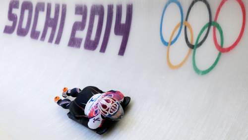 SOCHI, RUSSIA - FEBRUARY 13:  Noelle Pikus-Pace of the United States makes a run during the Women's Skeleton heats on Day 6 of the Sochi 2014 Winter O...