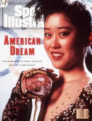 Figure skater Kristi Yamaguchi on the cover of Sports Illustrated in 1992