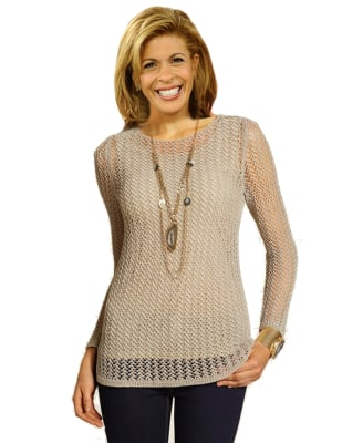 Bobbie Thomas shows what Hoda might look like with a longer, layered necklace.