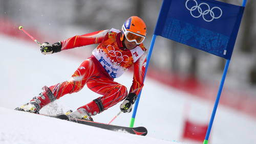 epa04088161 Himanshu Thakur of India competes in the Men's Giant Slalom Run 1 of the Alpine Skiing event in Rosa Khutor Alpine Center at the Sochi 201...