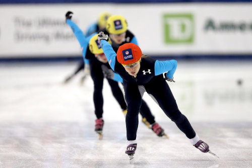 Skaters compete in a 1,000 meter final during the Olympic short track trials at Salt Lake City's Olympic Oval on January 5.