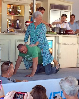After TV chef Robert Irvine gave her some encouraging words, Paula Deen took a ride across the stage.