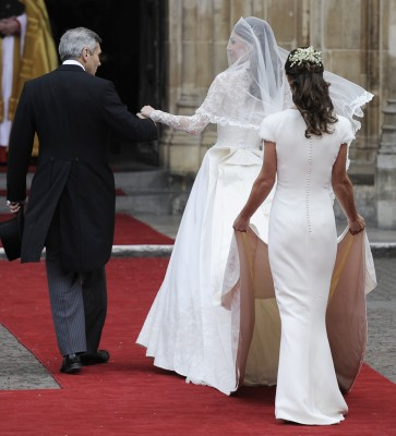 Kate Middleton arrives at Westminster Abbey with her father, Michael Middleton and her sister Pippa at the Royal Wedding with Britain's Prince William...
