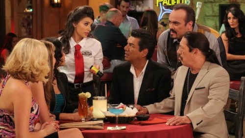 "A scene from the first episode of ""Saint George"" starring (from center, L-R): Mikaela Hoover as Chloe, George Lopez as George, David Zayas as Junior, ..."