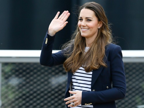 Britain's Kate, The Duchess of Cambridge waves as she leaves after a visit to a SportsAid Athlete Workshop, at the Queen Elizabeth Olympic Park in Lon...