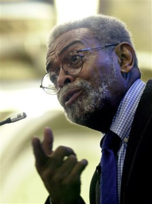 FILE - This Oct. 2, 2002 file photo shows Amiri Baraka, New Jersey's poet laureate during a  ceremony at the Newark Public Library in Newark, N.J.  Ba...