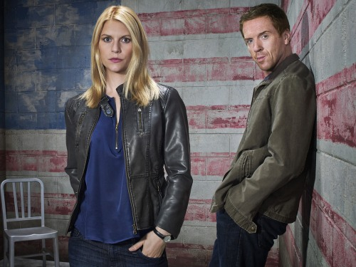 "Claire Danes as Carrie Mathison and Damian Lewis as Brody in ""Homeland."""