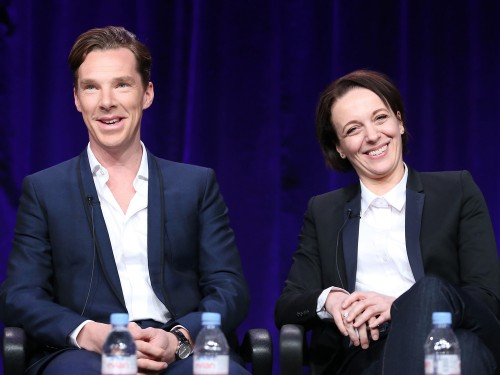 """Sherlock"" actors Benedict Cumberbatch and Amanda Abbington participated in a press conference in Los Angeles on Monday."