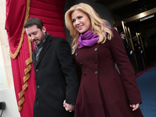 Singer Kelly Clarkson and her husband Brandon Blackstock arrive at the second presidential inauguration of President Barack Obama.