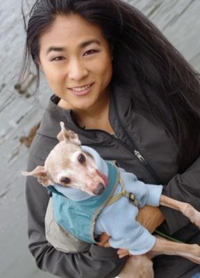 Jen Tserng with dog.