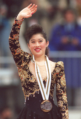 ALBERTVILLE, FRANCE:  Kristi Yamaguchi from the United States smiles as she waves to the crowd after the medals' ceremony of the women's figure skatin...