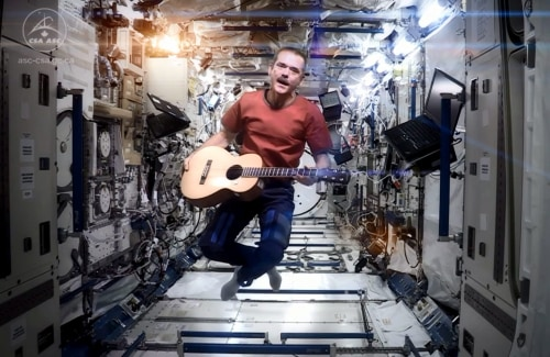 Astronaut Chris Hadfield performing aboard the International Space Station.