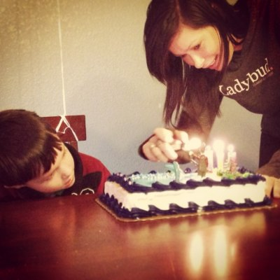 Diane Fornbacher lights candles on a birthday cake for her son, Charlie, 5. And no, it does not contain marijuana.