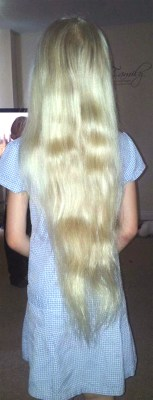 Charlie Tillotson's long hair, pre-cut.