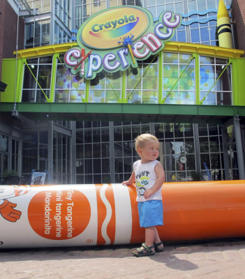 William Schmid, 18 months, of Gardners, Pennsylvania, plays outside the Crayola Experience attraction Tuesday in Easton, Pennsylvania. Crayola announced Tuesday it will build a second attraction at The Florida Mall in Orlando, Fla., to open in summer 2015.