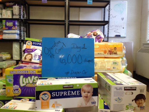 Part of the diapers donated after the diaper bank robbery.