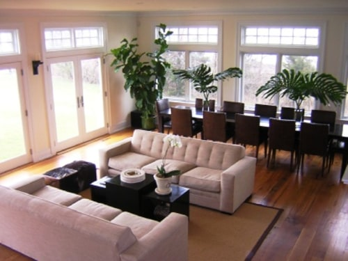 The living and dining area of the home rented by the Kardashian sisters