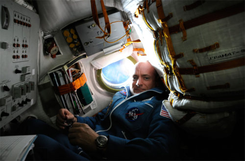 Scott Kelly aboard the Soyuz TMA-01M spacecraft on docking day with the International Space Station on Oct. 9, 2010.