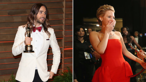 Image: Jared Leto  and Jennifer Lawrence.