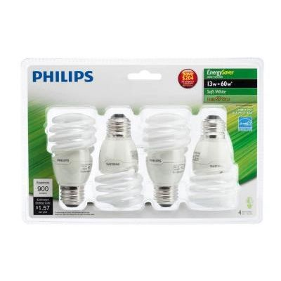 The Philips 13-Watt Energy Saver Mini Twister Soft White is projected to last 12,000 hours and comes with an 11-year warranty.