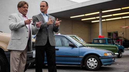"Christopher Meloni and Dean Norris play the owners of a suburban car dealership in the '90s in ""Small Time."""