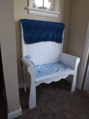 The memory bench, that was made from Noah's crib.