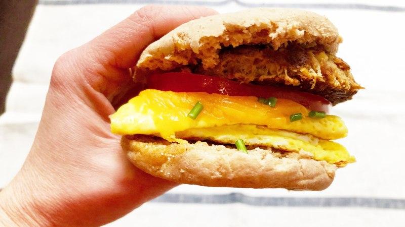 Healthy Breakfast Sandwich With Chicken Sausage