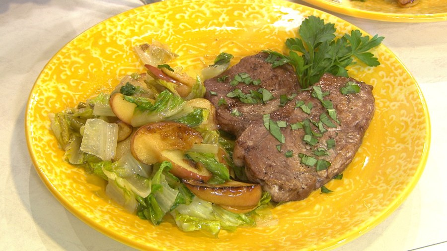 Fast and easy weeknight dinner recipe ideas today make tasty pork cutlets with an apple romaine salad in 5 minutes forumfinder Gallery